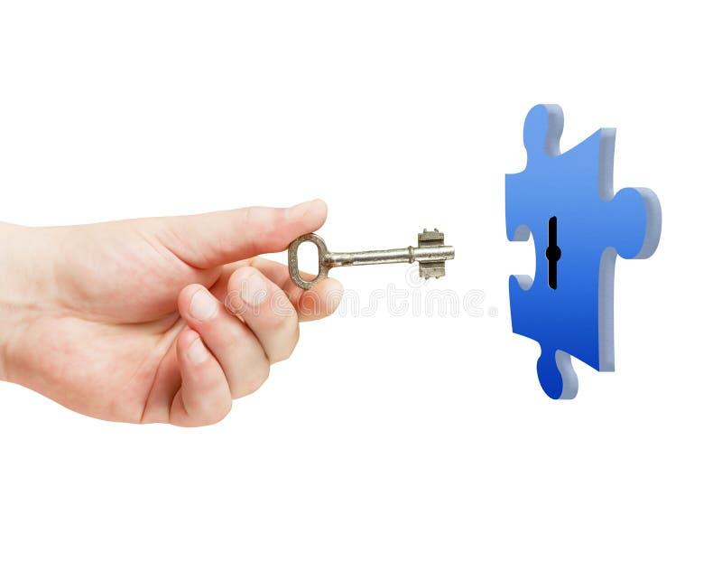 Fechamento disponivel do enigma da abertura da chave sobre o branco fotos de stock