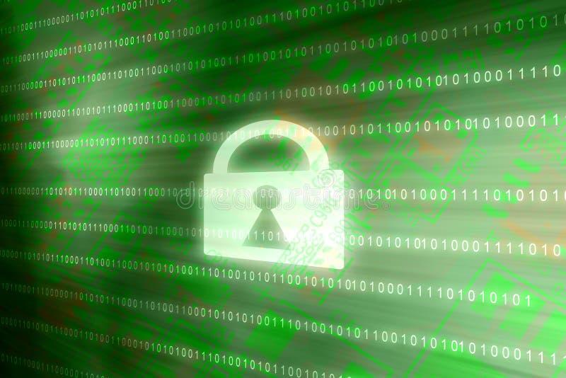 Fechamento do acesso da seguran?a do Cyber na prote??o de dados em linha do Internet bin?rio do fundo do verde da matriz ilustração stock