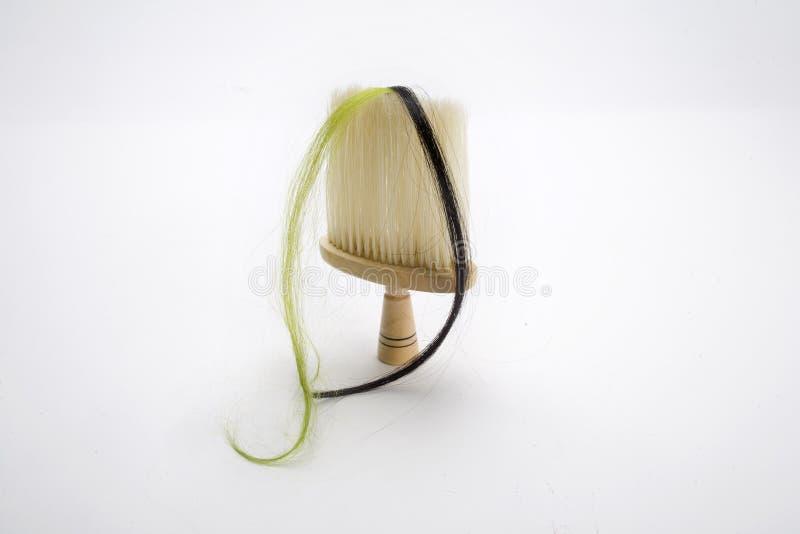 Fechamento do cabelo e da escova foto de stock