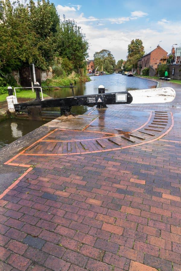 Fechamento do canal, Stourport em Severn, no Staffordshire e em Worcester fotografia de stock