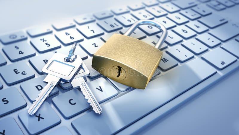 Fechamento do computador e corrente - segurança do conceito ilustração do vetor
