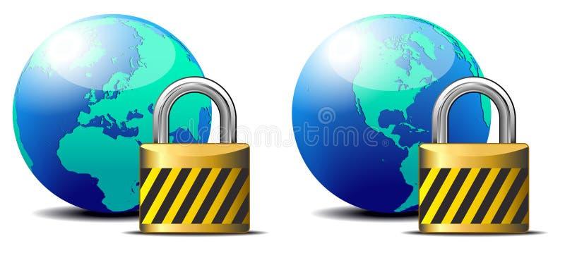 Fechamento do Internet seguro - proteção surfar de Internet ilustração do vetor