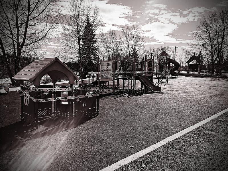 Fechamento do playground do Covid-19 imagem de stock royalty free