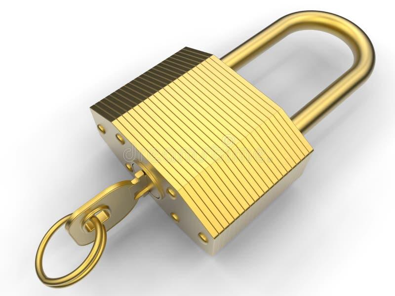 Fechamento dourado resistente ilustração do vetor