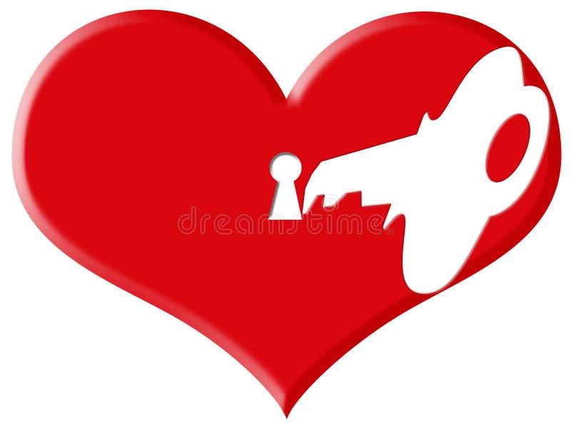 Download Fechamento e chave do amor ilustração stock. Ilustração de mês - 61080