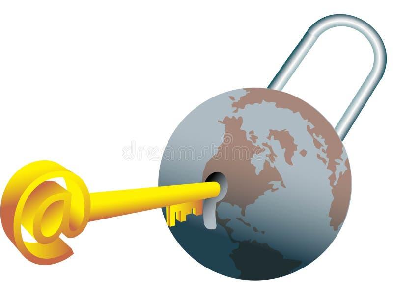 Fechamento e chave do Glob ilustração stock