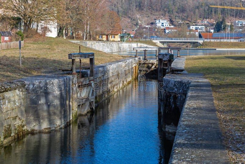 Fechamento em Ludwig Danube Main Canal histórico em Kelheim fotografia de stock royalty free
