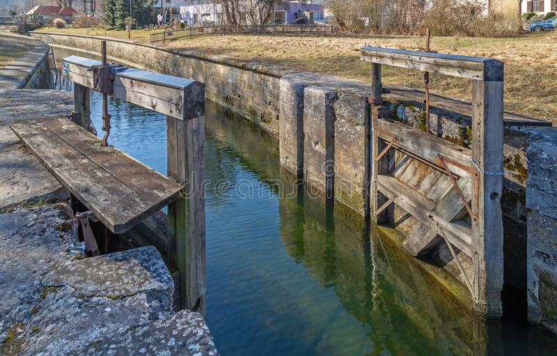 Fechamento em Ludwig Danube Main Canal hist?rico em Kelheim imagens de stock royalty free