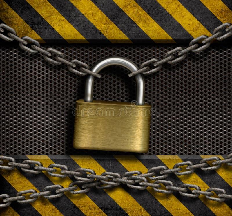 Fechamento fechado com correntes e fundo do metal foto de stock royalty free