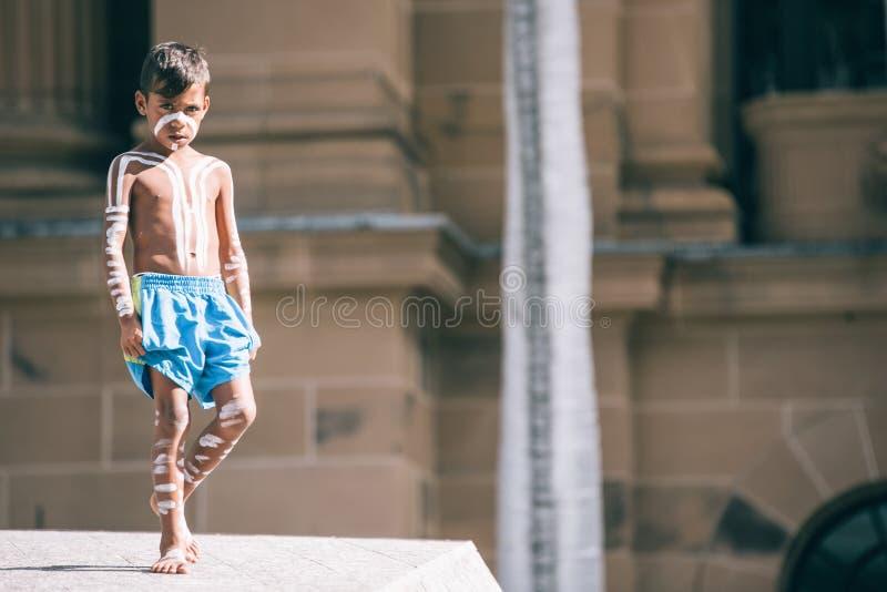 Fechamento forçado março de Brisbane Aborigional foto de stock
