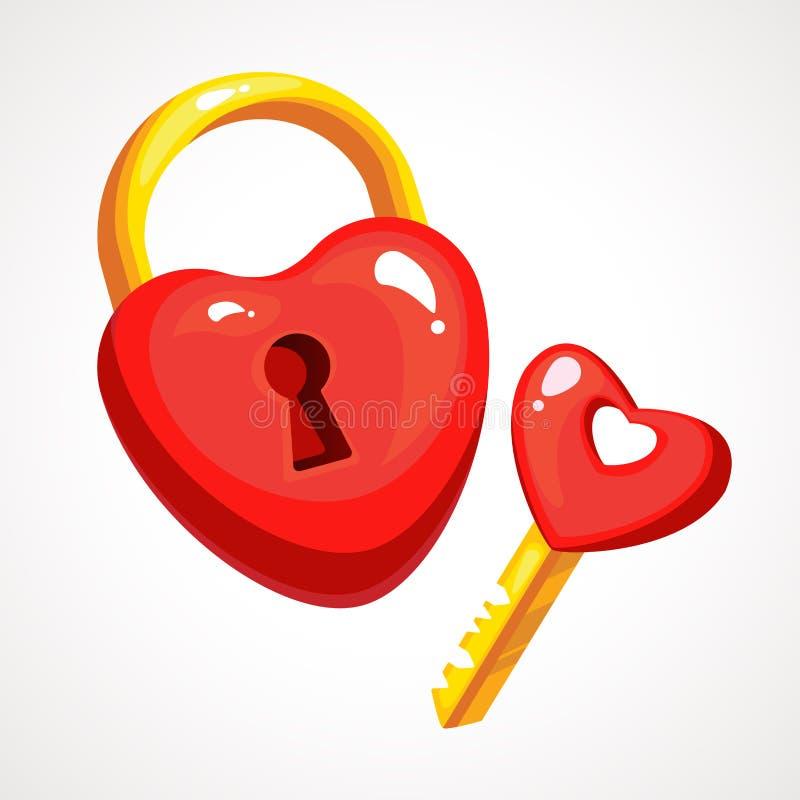 Fechamento vermelho e chave do coração da ilustração do vetor ilustração stock