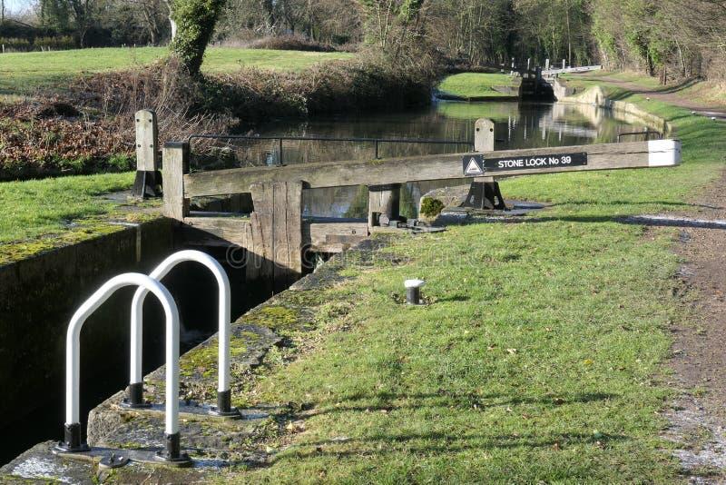 Fechamentos situados no canal de Chesterfield fotografia de stock