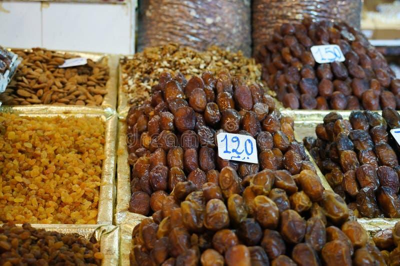 Fechas del dulce del mercado marroquí fotos de archivo