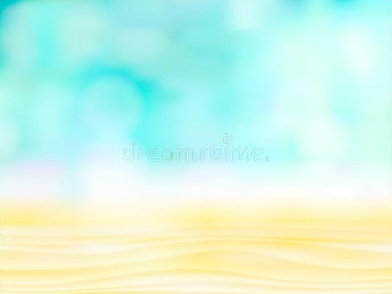 Feche acima da areia abstrata com fundo borrado do céu do mar, dia de verão, espaço da cópia ou para o produto luz abstrata no az ilustração royalty free