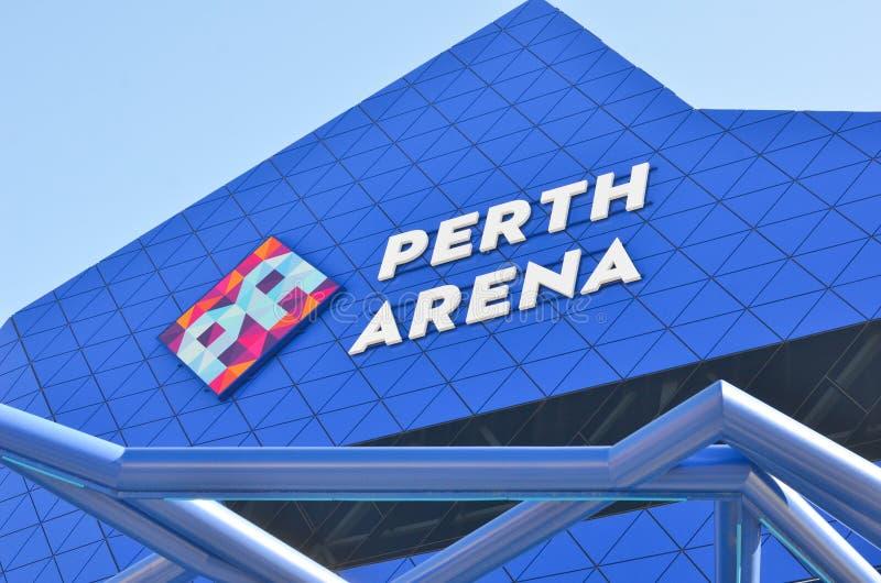 Feche acima da arena moderna Austrália de Perth da arquitetura foto de stock