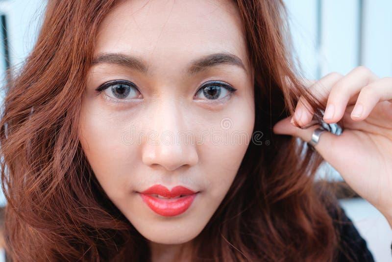 Feche acima da beleza do asiático da cara foto de stock royalty free