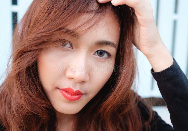 Feche acima da beleza do asiático da cara fotos de stock