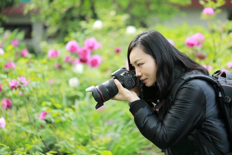 Feche acima da câmera chinesa da posse do fotógrafo da mulher de Aisan perto de seu trabalho da cara na natureza contra o céu azu fotos de stock