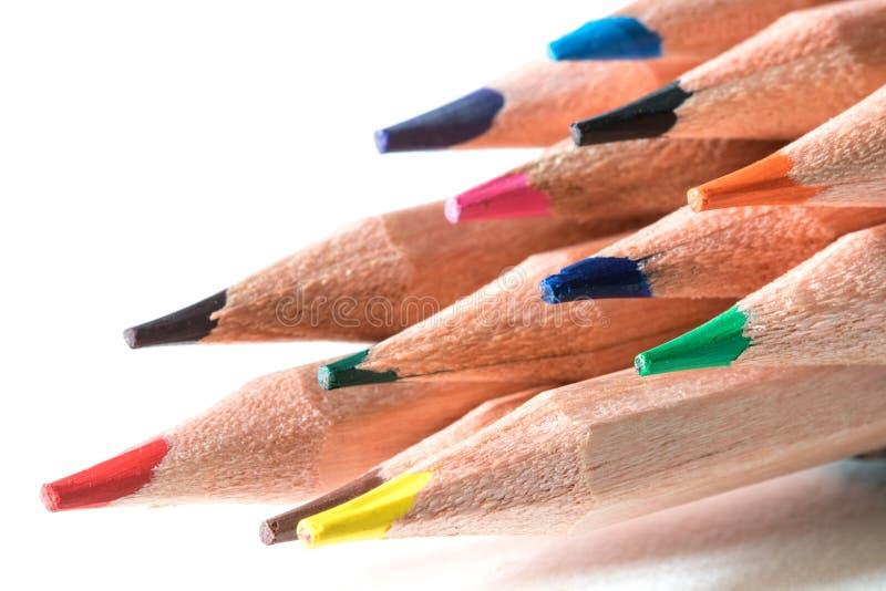 Feche acima da cabeça do lápis da cor, um conceito colorido criativo da ideia foto de stock royalty free