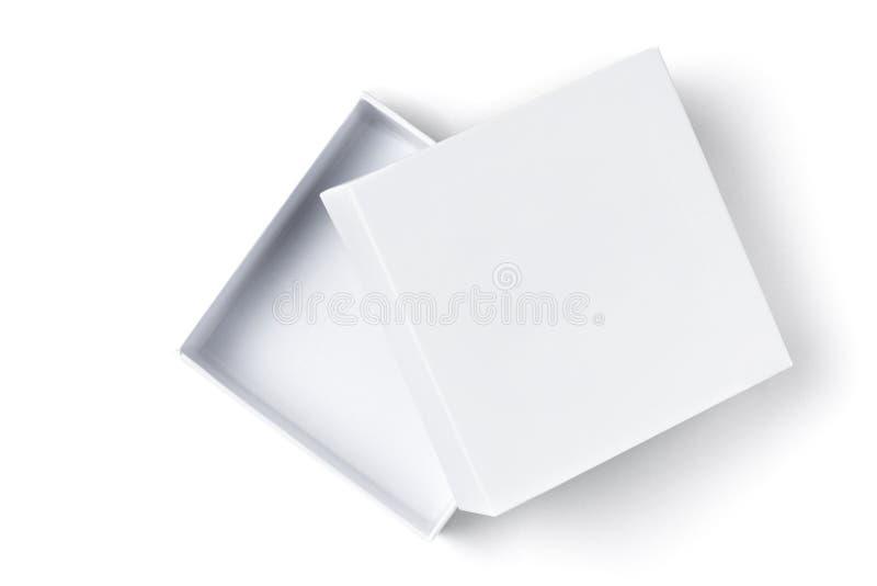Feche acima da caixa de presente aberta do cartão do branco no fundo branco isolado, vista superior fotos de stock royalty free