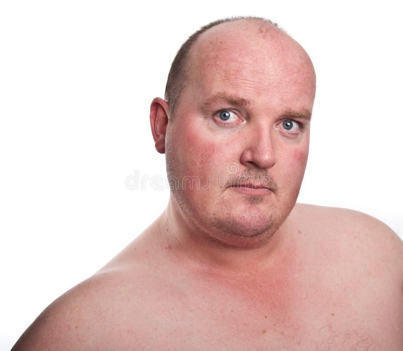 Feche acima da captação do retrato do macho do excesso de peso foto de stock royalty free