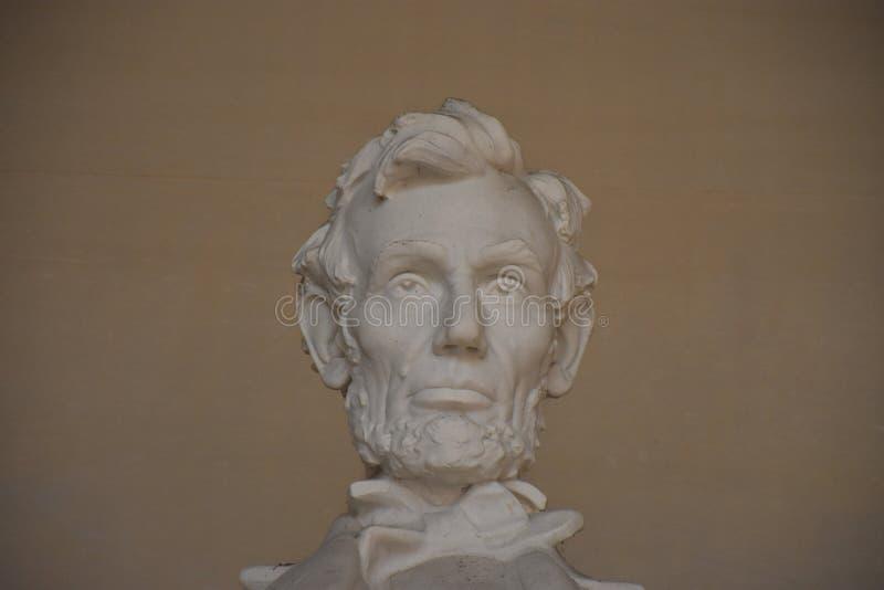 Feche acima da cara de Lincoln Memorial em Washington, C.C. imagem de stock