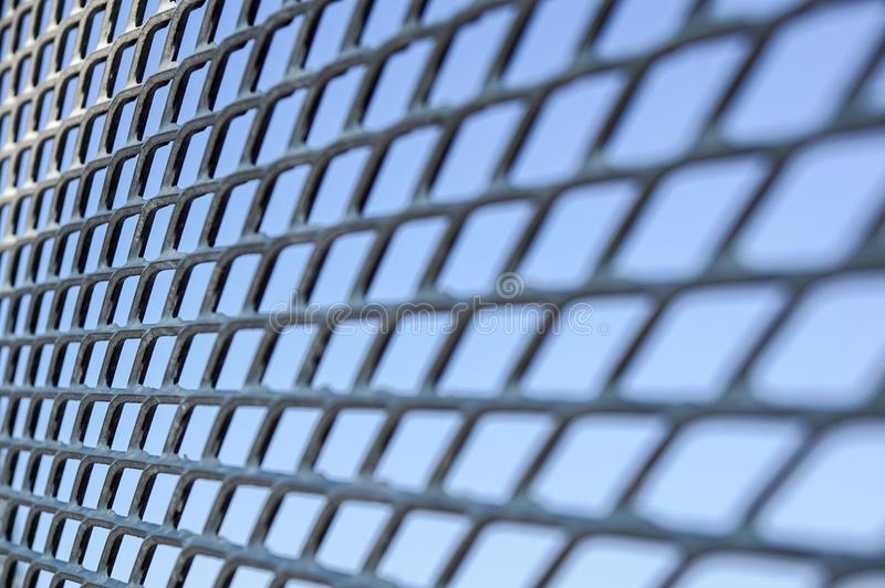Feche acima da cerca Chain Engranzamento do metal Foco seletivo foto de stock