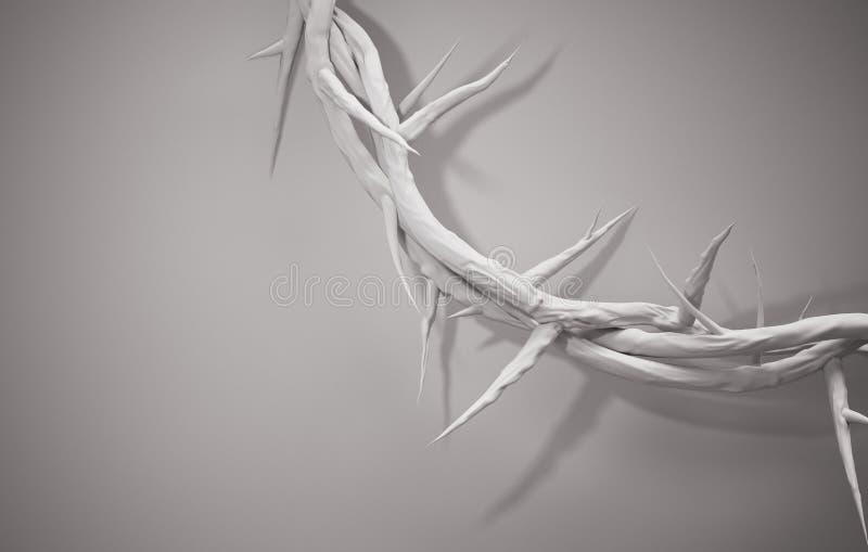Feche acima da coroa de espinhos 3D que rendem o espaço vazio ilustração do vetor