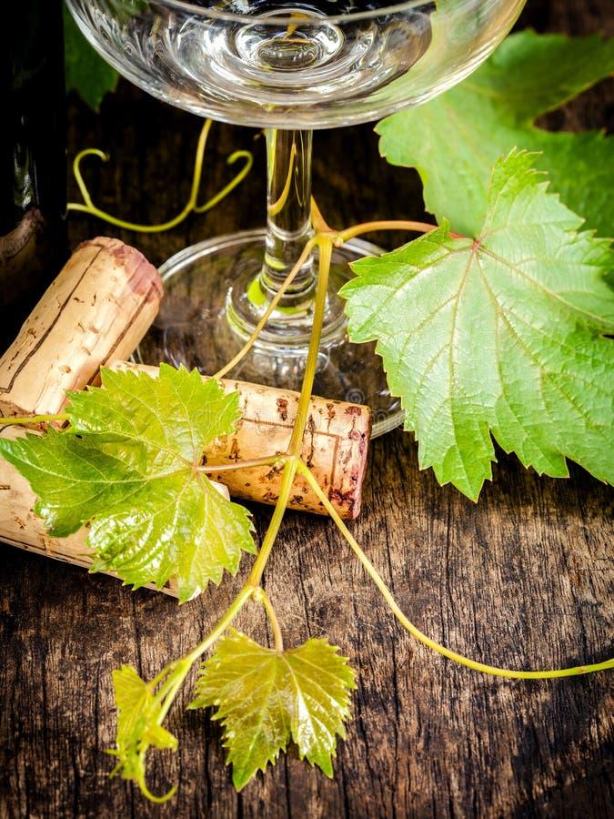 Feche acima da cortiça do vinho com vinha e vidro de vinho na madeira rústica imagem de stock