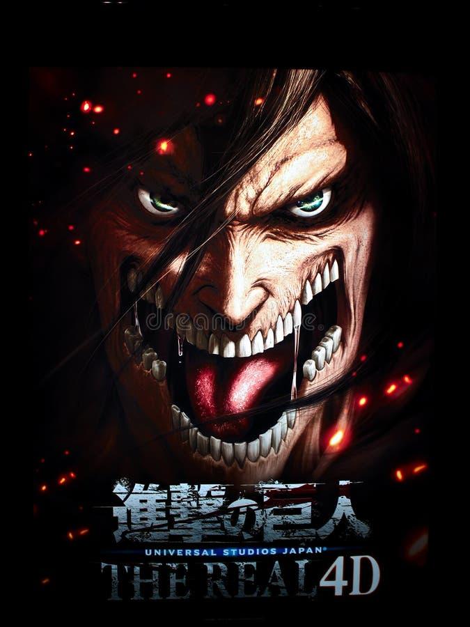 Feche acima da estátua do humanoid gigantesco do ataque no titã - Shingeki nenhum Kyojin foto de stock