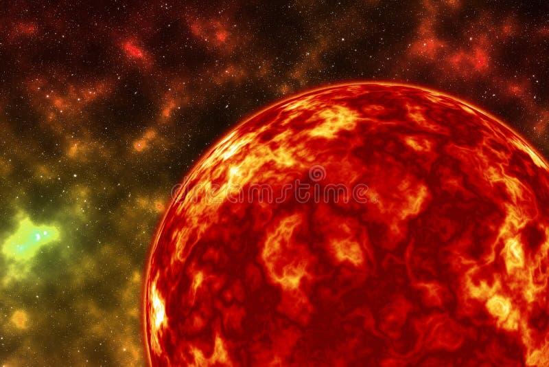 Feche acima da explosão do planeta, explodindo o planeta do fogo ilustração do vetor