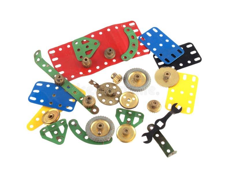 Feche acima da foto dos componentes usados para construir os brinquedos modelo fotografia de stock royalty free