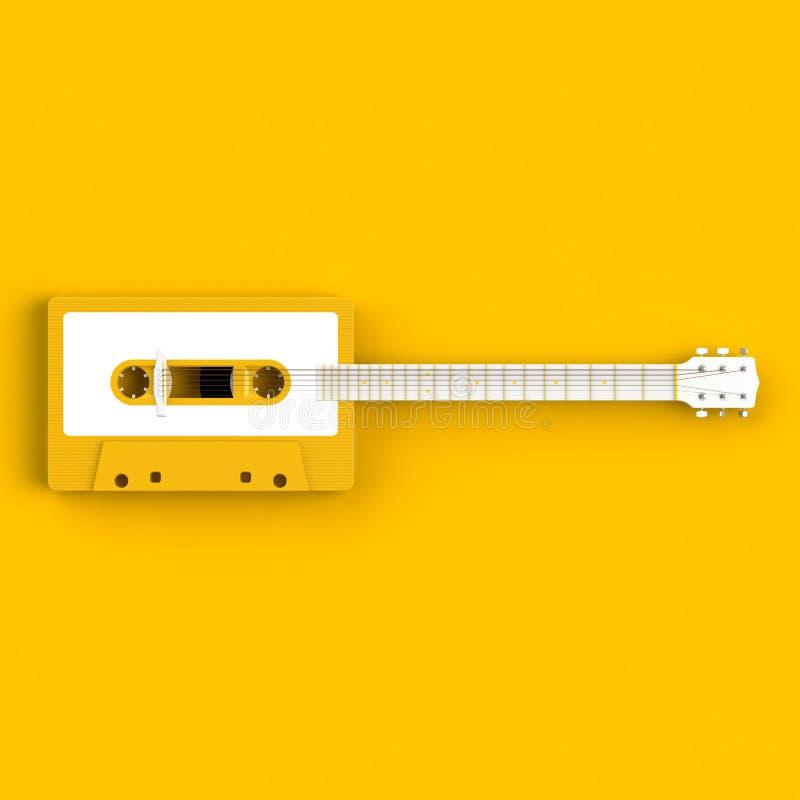 Feche acima da gaveta de cassete áudio do vintage com ilustração do conceito da guitarra acústica no fundo amarelo fotos de stock