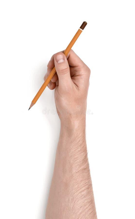 Feche acima da ideia da mão do homem que mantém o lápis isolado no fundo branco imagem de stock