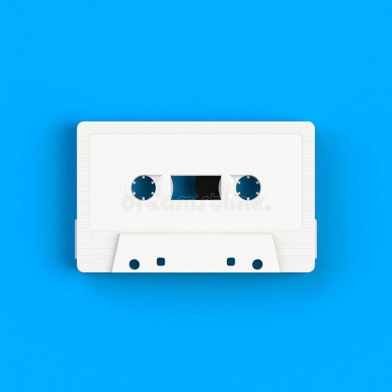 Feche acima da ilustração branca da gaveta de cassete áudio do vintage no fundo azul, vista superior com espaço da cópia fotografia de stock