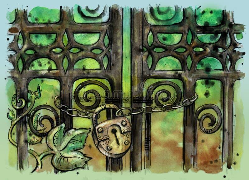 Feche acima da ilustração da porta gótico velha com cadeado ilustração royalty free