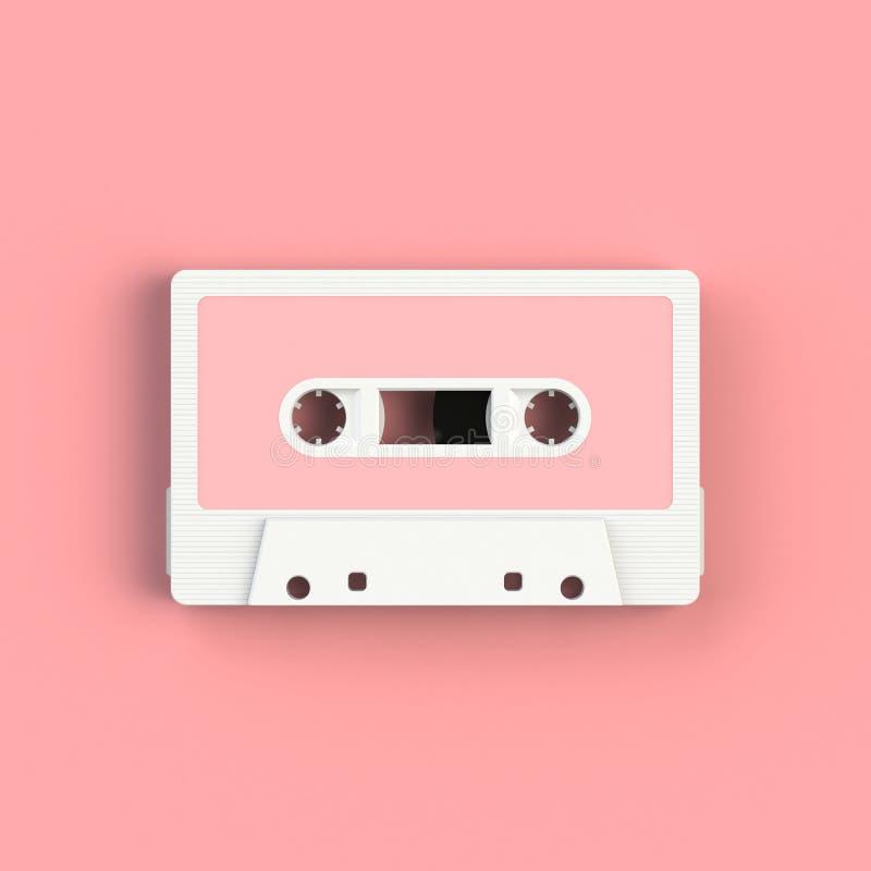 Feche acima da ilustração da gaveta de cassete áudio do vintage no fundo cor-de-rosa, vista superior com espaço da cópia imagens de stock royalty free