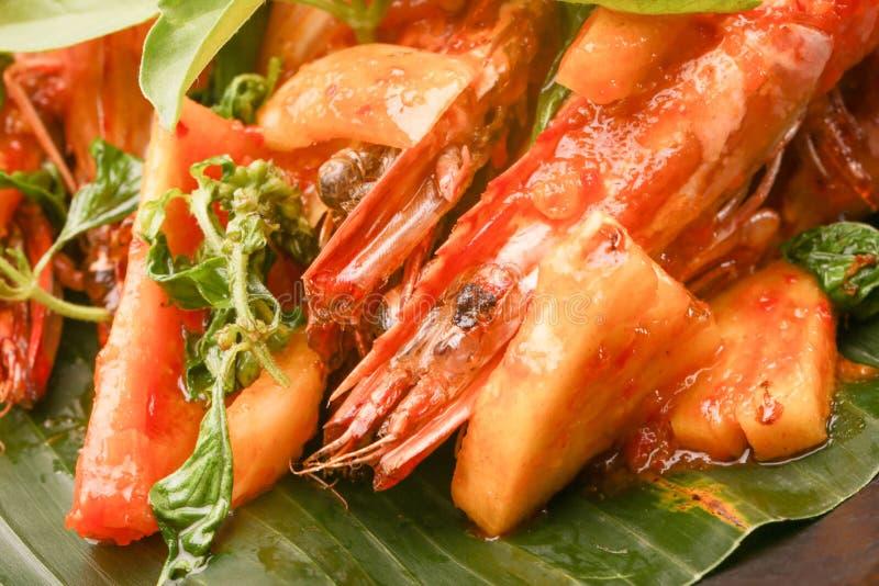 Feche acima da imagem dos camarões fritados foto de stock royalty free