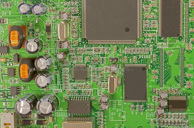 Feche acima da imagem da placa de circuito eletrônico foto de stock