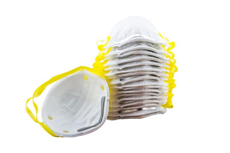 Feche acima da máscara branca isolada no fundo branco Salvar com c imagem de stock royalty free