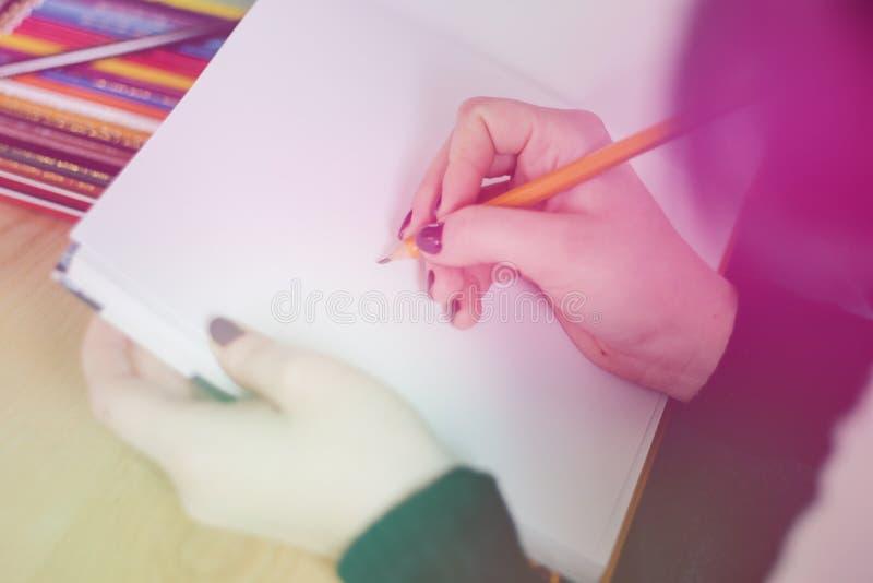Feche acima da mão de uma pena e de um caderno de terra arrendada da mulher do escritório ao fazer algumas anotações em sua tabel fotos de stock