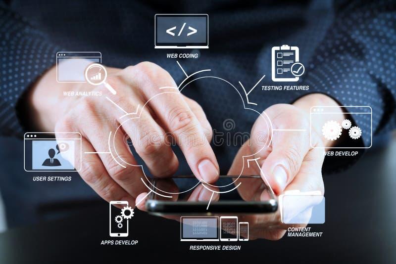 feche acima da mão do homem de negócios que trabalha com telefone celular em moderno imagem de stock