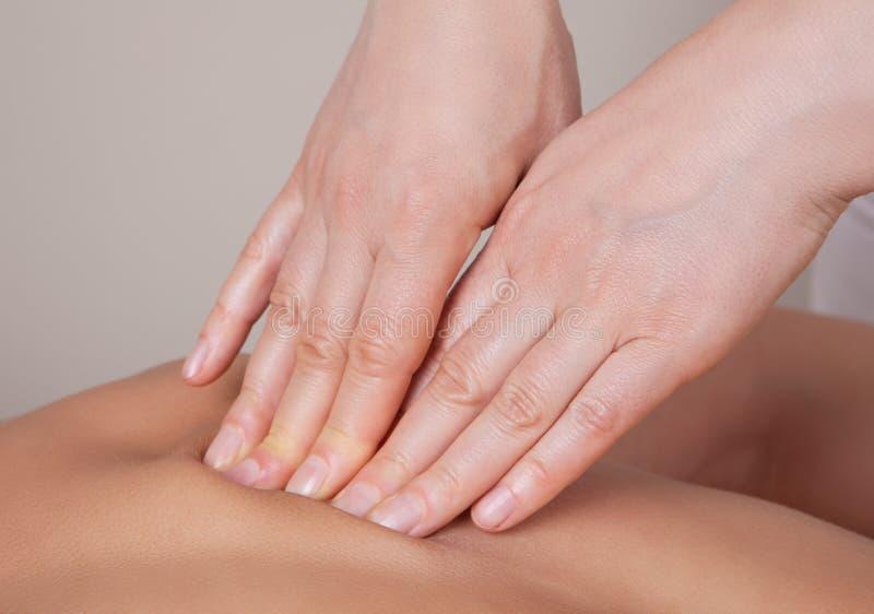 Feche acima da massagem do tecido conjuntivo no grupo do músculo imagem de stock
