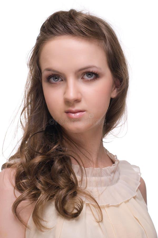 Download Feche Acima Da Mulher Bonita Com Espaço Livre Compo Foto de Stock - Imagem de longo, cute: 12804630
