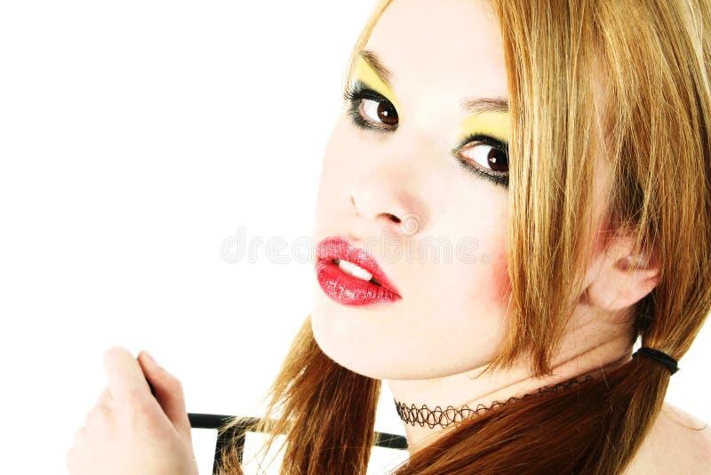 Feche acima da mulher bonita de Goth fotografia de stock