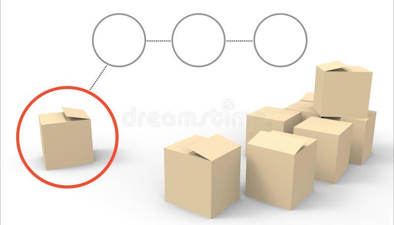 Feche acima da pilha de grupos do pacote do pacote das caixas no fundo branco ilustração do vetor