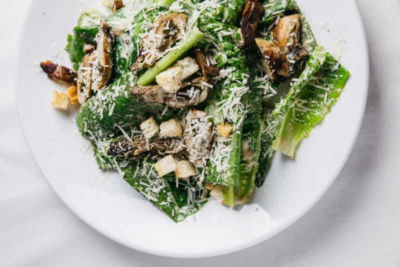 Feche acima da salada de Caesar das ostras servida na placa branca sobre a toalha de mesa branca fotos de stock royalty free