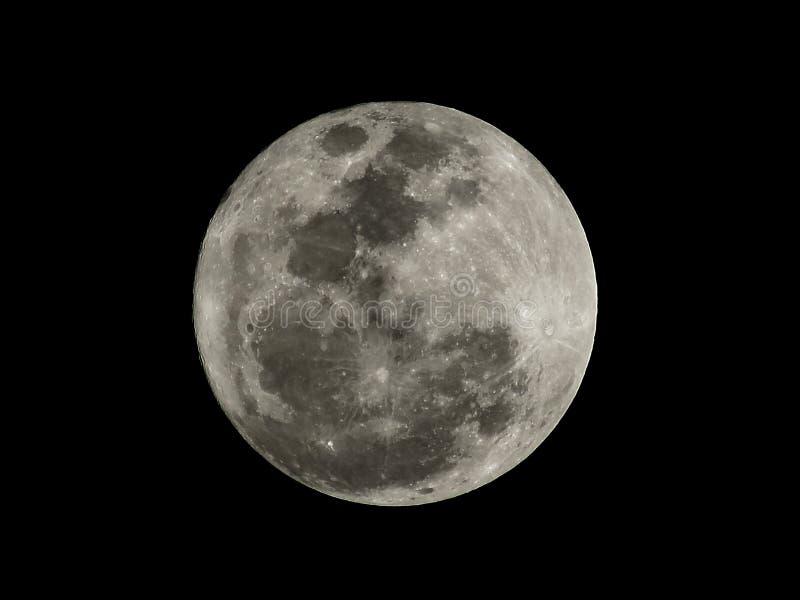Feche acima da textura da Lua cheia na noite Lua cheia mim fotografia de stock royalty free