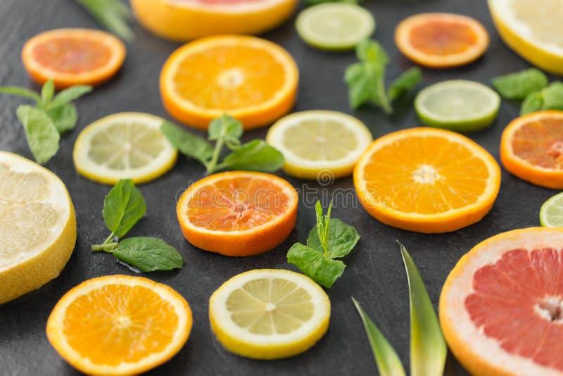 Feche acima da toranja, da laranja, do pomelo e do cal fotos de stock royalty free