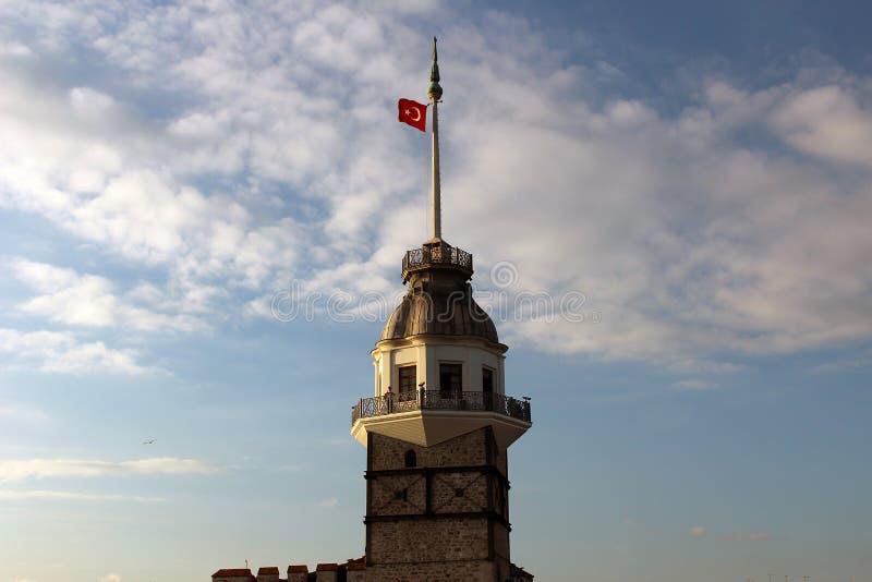 Feche acima da torre da donzela da imagem em Istambul imagem de stock